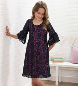 Lace-Bell-Sleeve Dress