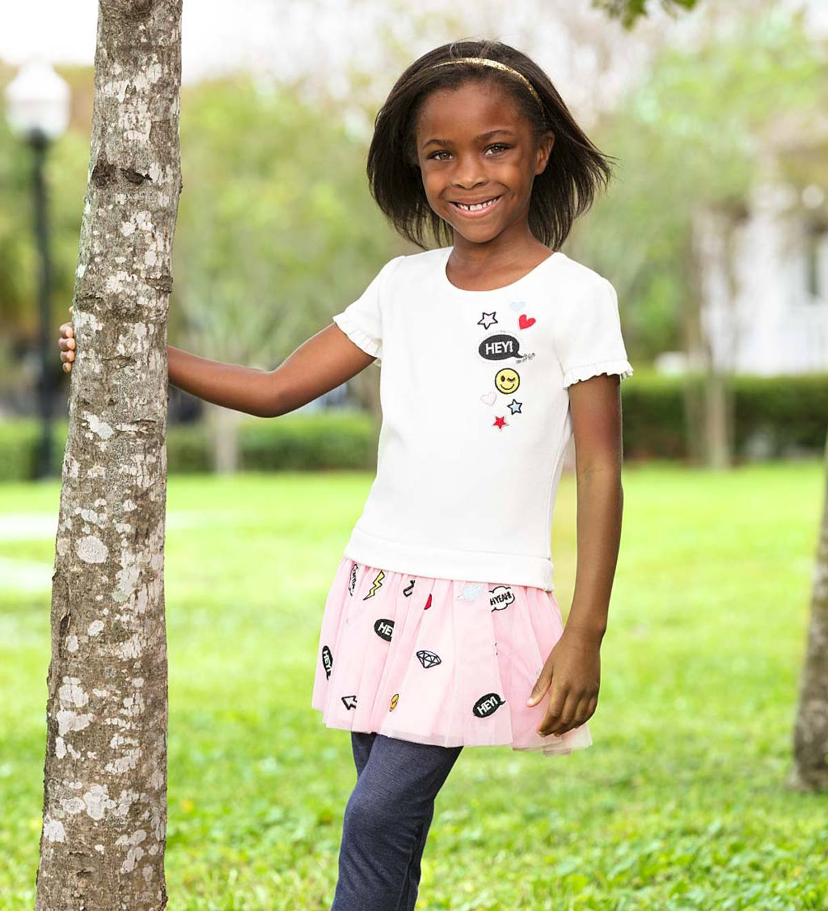 Short-Sleeve Patches Tutu Dress and Leggings Set