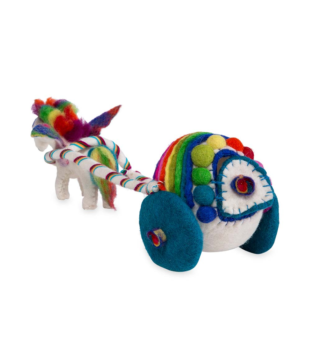 Wool Felt Rainbow Unicorn and Carriage Play Set