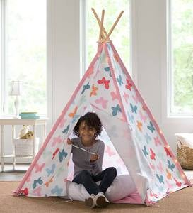 Butterfly Patterned-Fabric Four-Pole Teepee
