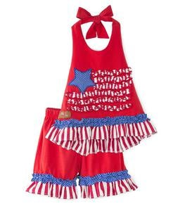 Ruffle Flag Halter Top and Shorts Set - MLT - 5