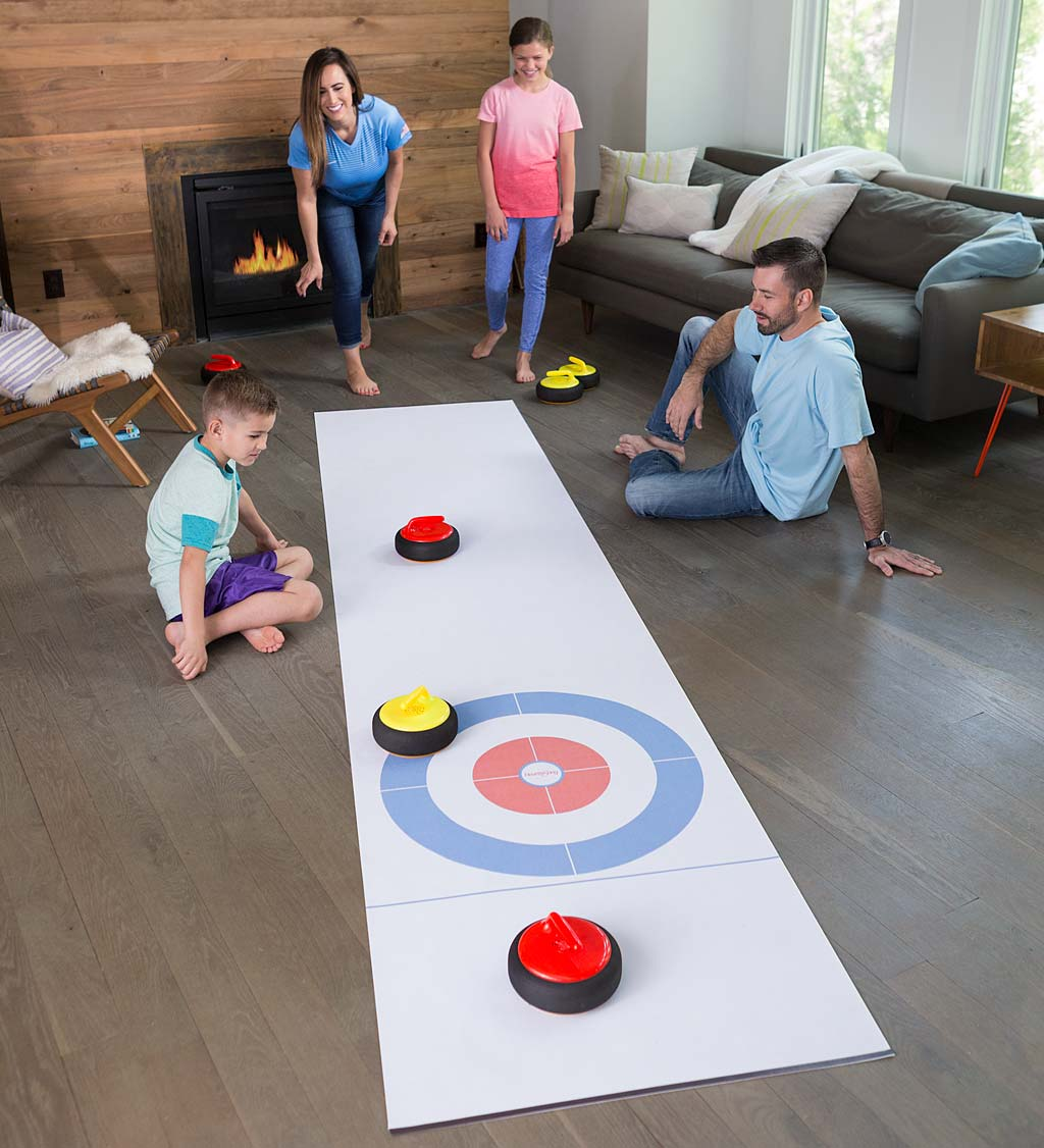 Curling Zone Indoor Game with Hovering Stones and 11½'L x 2½'W Mat