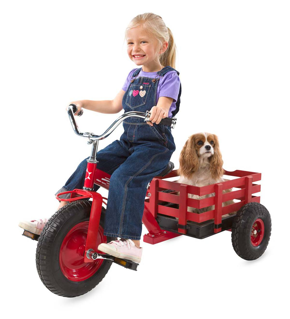 Child's Cherry Red Metal Tricycle with Attached Slatted-Wood Wagon