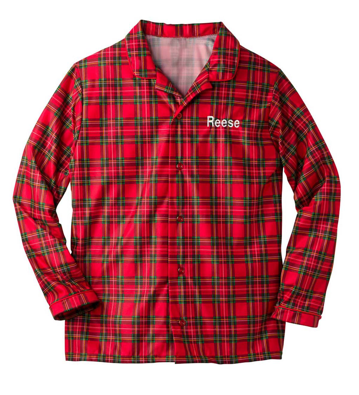 Adult Personalized Plaid Button Top - Red - Large