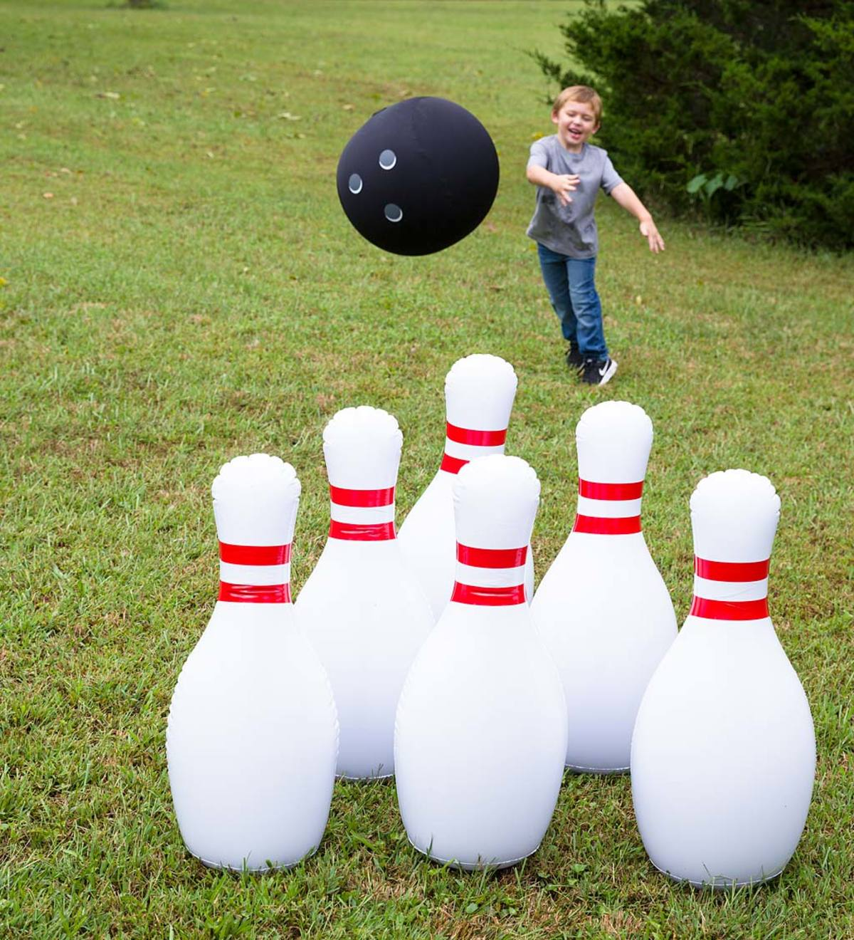 "Indoor/Outdoor Giant Inflatable Bowling Game With 29""H Pins and 20""diam. Ball"