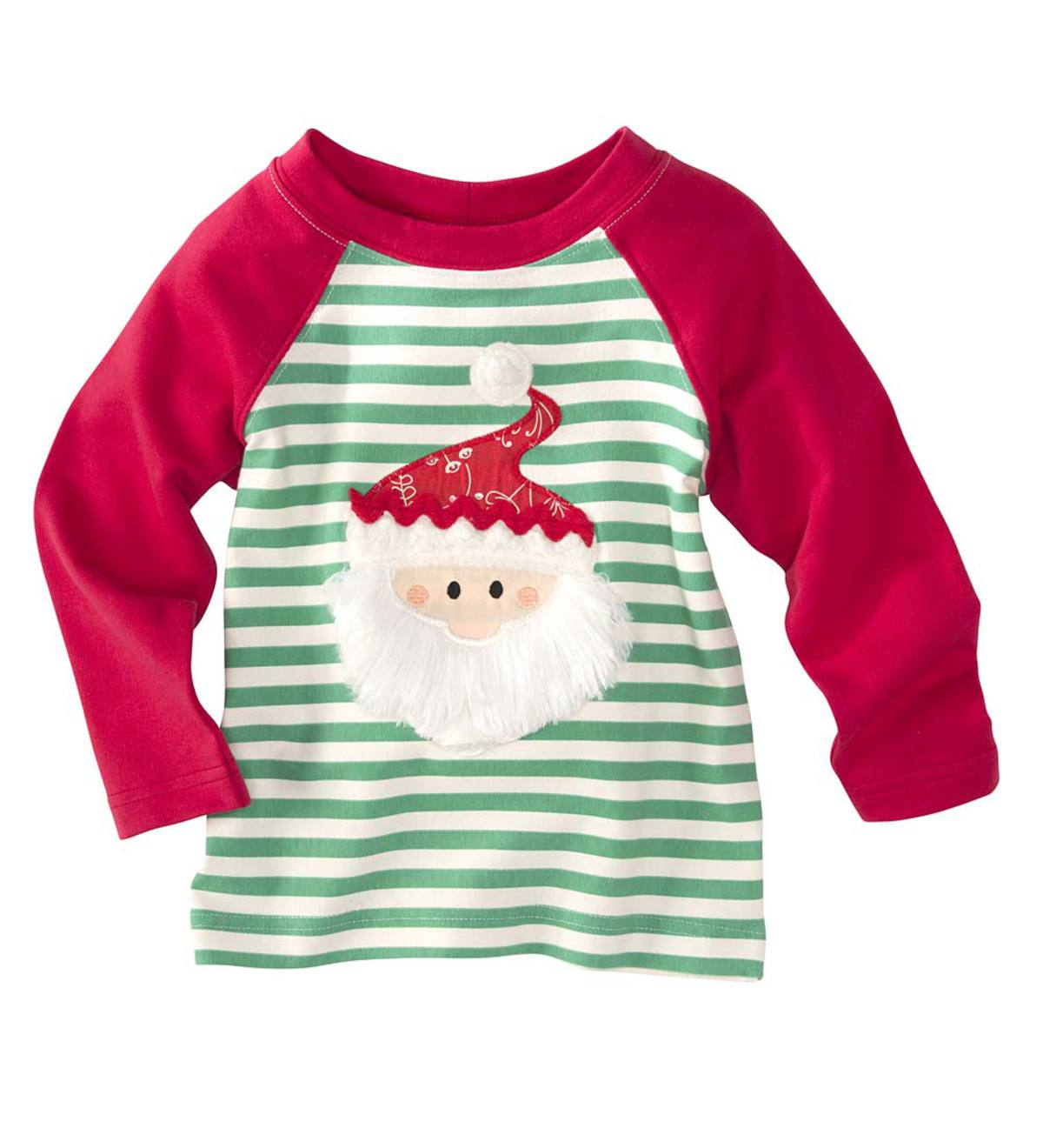Green Striped Santa Tee - Red - 7