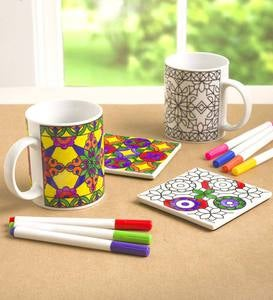 Color Pops® Color-Your-Own-Mugs and Coasters Set