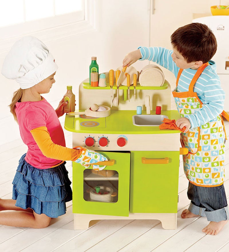 Child-Size Gourmet Wood Chef Kitchen - Green