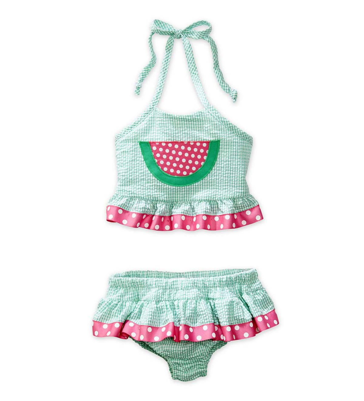 Gingham Watermelon Two-Piece Swimsuit - Green - 3T