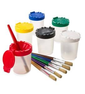 Set of 6 Paint Pots and 6 Brushes