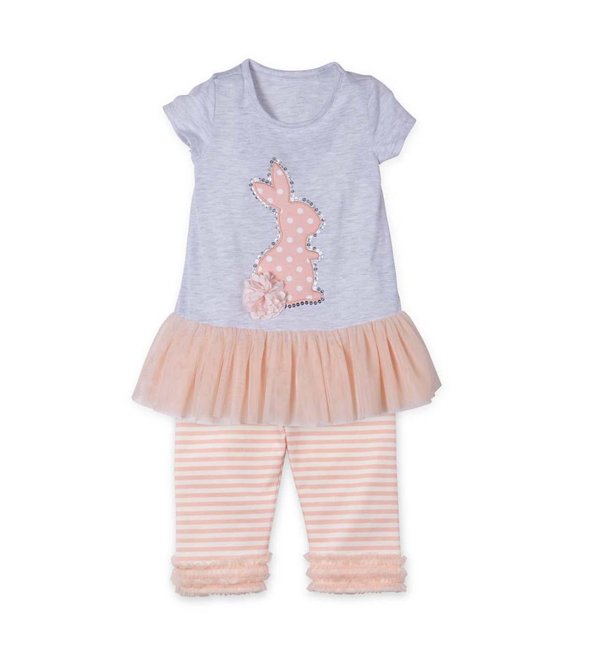 Short Sleeve Bunny Tutu Shirt and Leggings Set - Multi - 12M