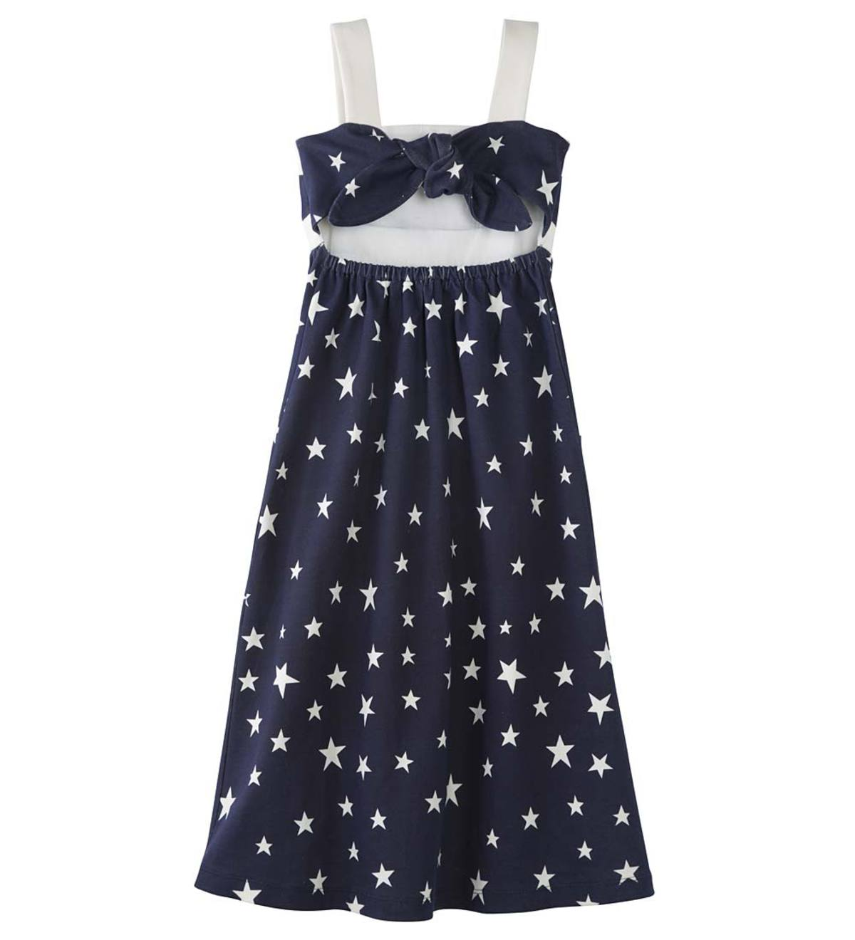 Sleeveless Star-Print Pocket Dress - NY - 3T