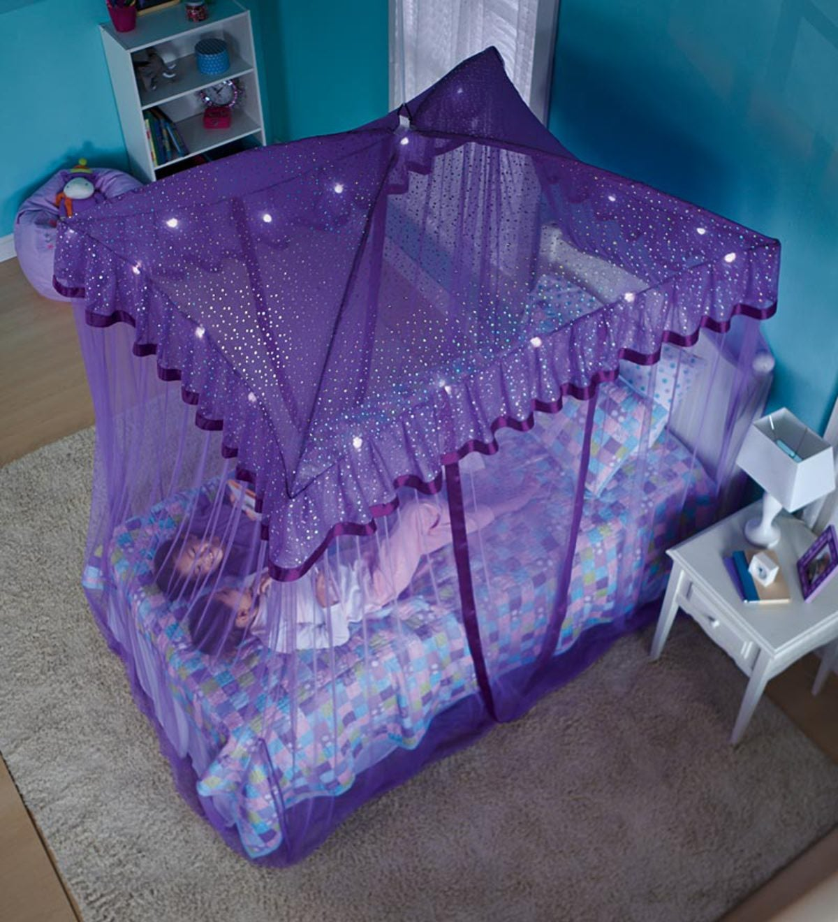 Sparkling Lights Lighted Canopy Bower Pink Hearthsong