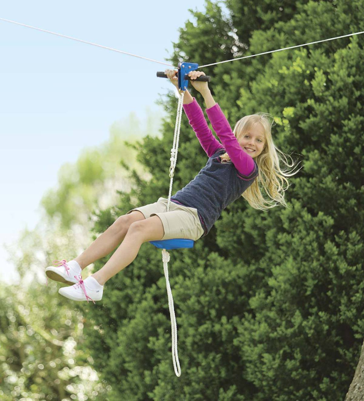 Zip Lines For Backyards kids zipline-with-seat kits | 10 years old | ages | hearthsong