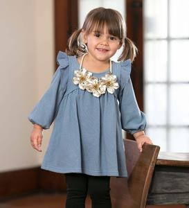 Long-Sleeve Ruffle-Shoulder Tunic and Necklace Set