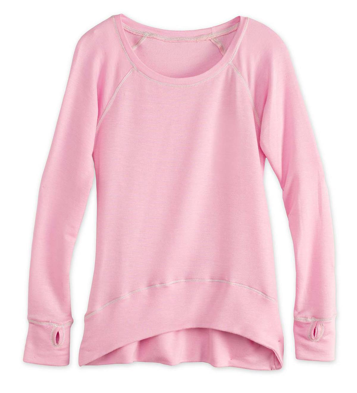 High-Low Raglan-Sleeve Top - Pink - 6X