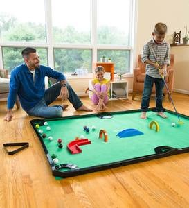 Golf Pool Indoor Family Game, Includes Golf Clubs, Balls, Mat, Rails, and Wooden Arches and Ramps