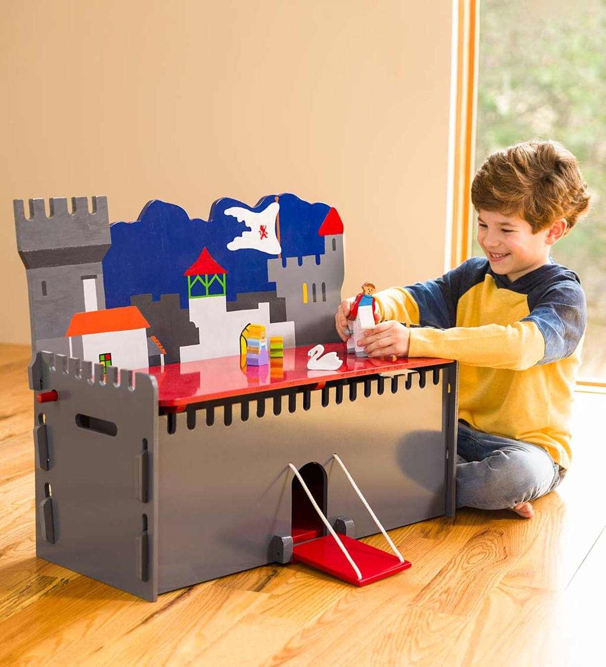 Wooden Castle Toy Box