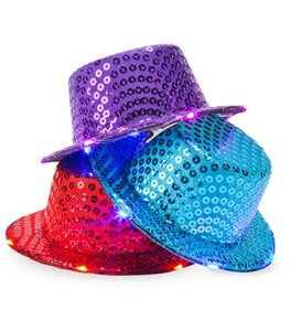 Set of 3 Light-Up Spangly Hats Blue, Purple and Red