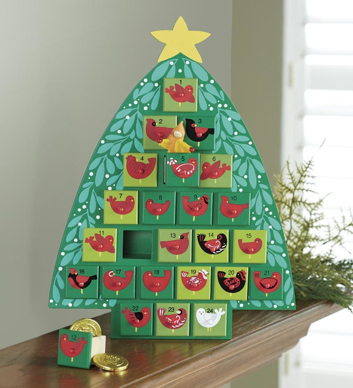 Wooden Advent Tree With Painted Birds