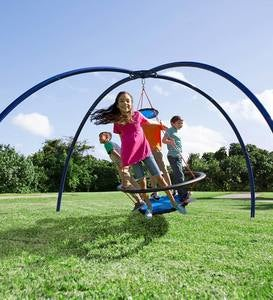 Vortex Outdoor Spinning Ring Swing and Sky Dome Arched Stand Set