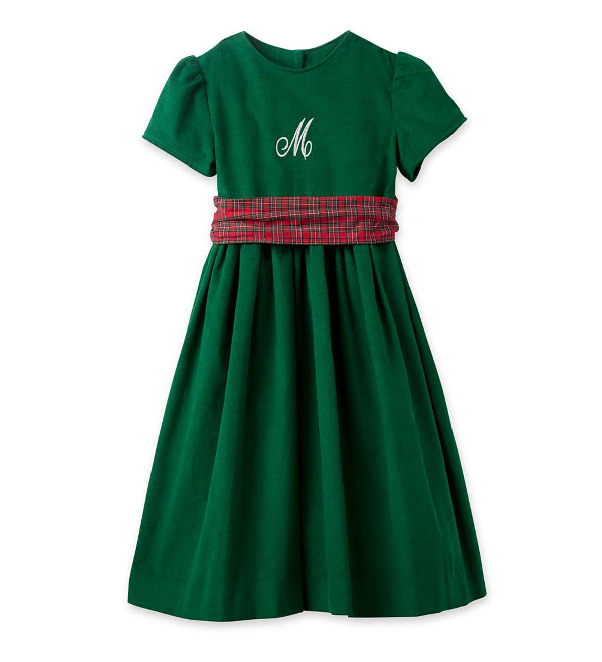 Personalized Corduroy Dress - Green - 2T