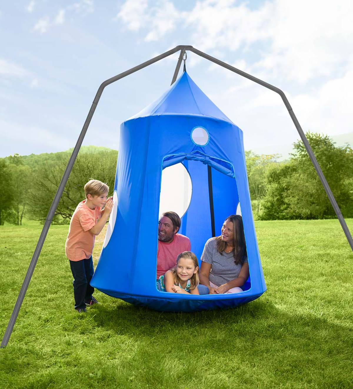 Nylon Family HugglePod HangOut® and Family HugglePod HangOut Stand Special - Blue