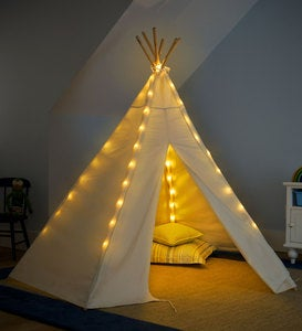 7' Children's Cotton Canvas Teepee with Wooden Poles and Battery-Operated String Lights