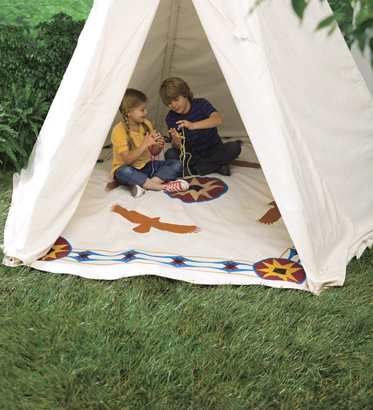 12' Family-Sized Teepee Ground Cover and 12' Plug-In UL Teepee Lights