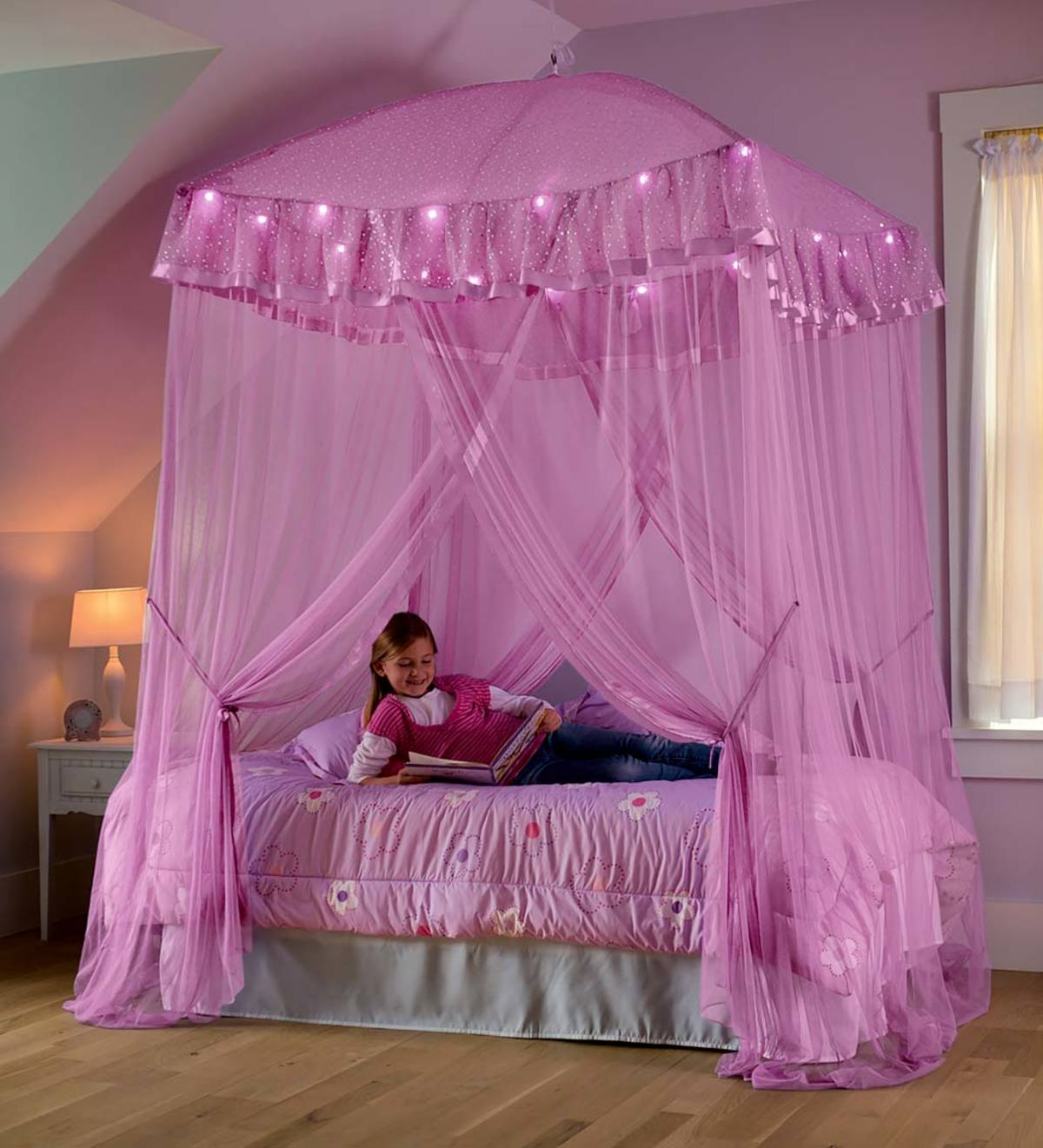 Sparkling Lights Light-Up Bed Canopy - Pink   HearthSong