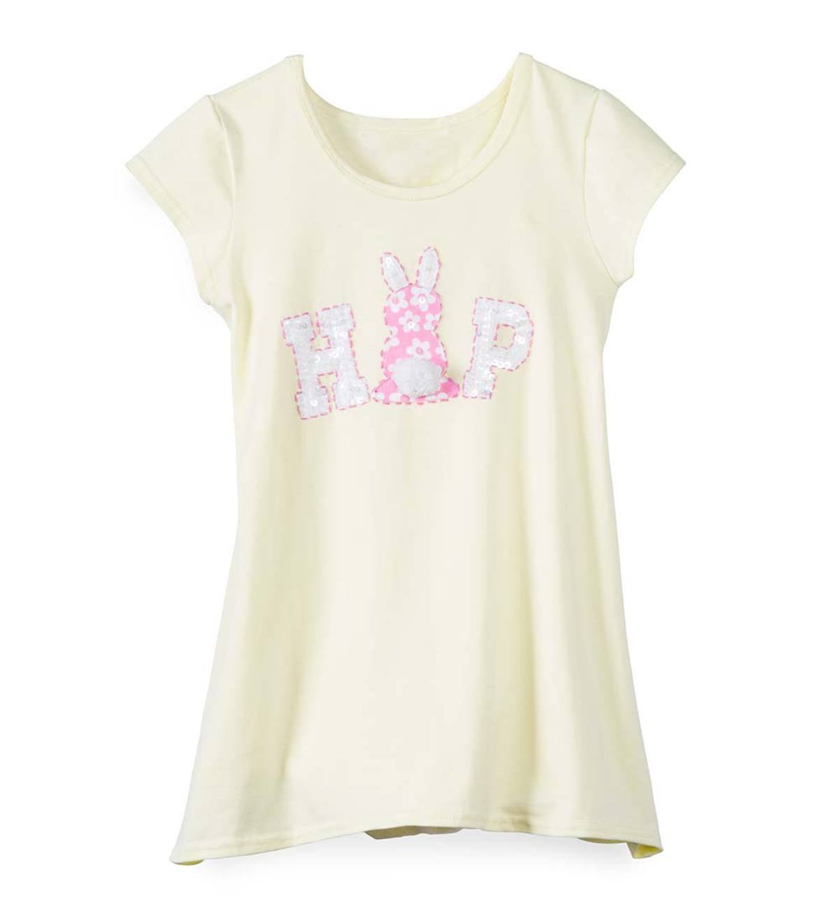 "Short Sleeve High Low Bunny ""Hop"" Tunic - Yellow - 12"