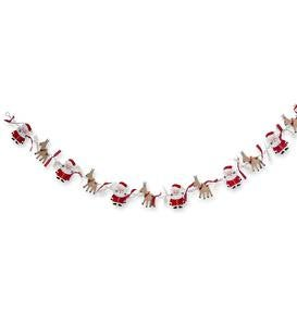 Wood Santa and Reindeer Garland
