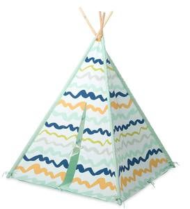 Color-Brushed Patterned-Fabric Four-Pole Teepee