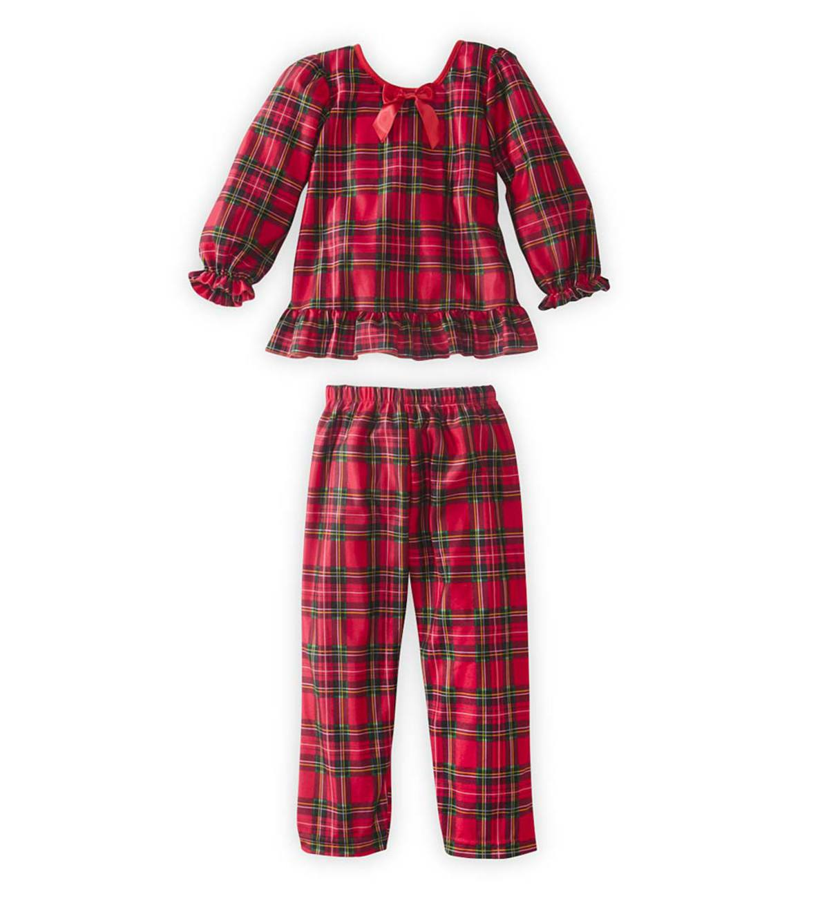 Plaid Ruffle Pajamas - Red - 8