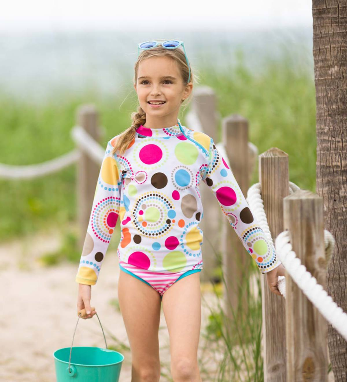 Dot & Stripe Three-Piece Rash Guard Set