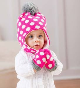 Polka-Dot Hat & Mittens Set