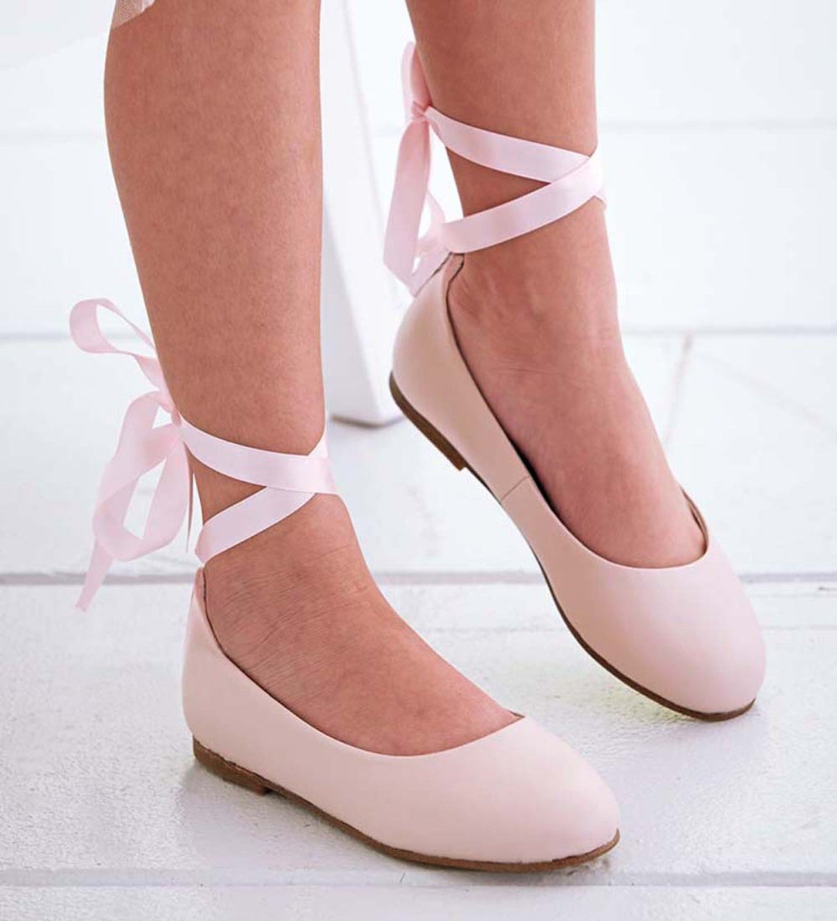 Lace-Up Ballet Flat - Pink - Size 1