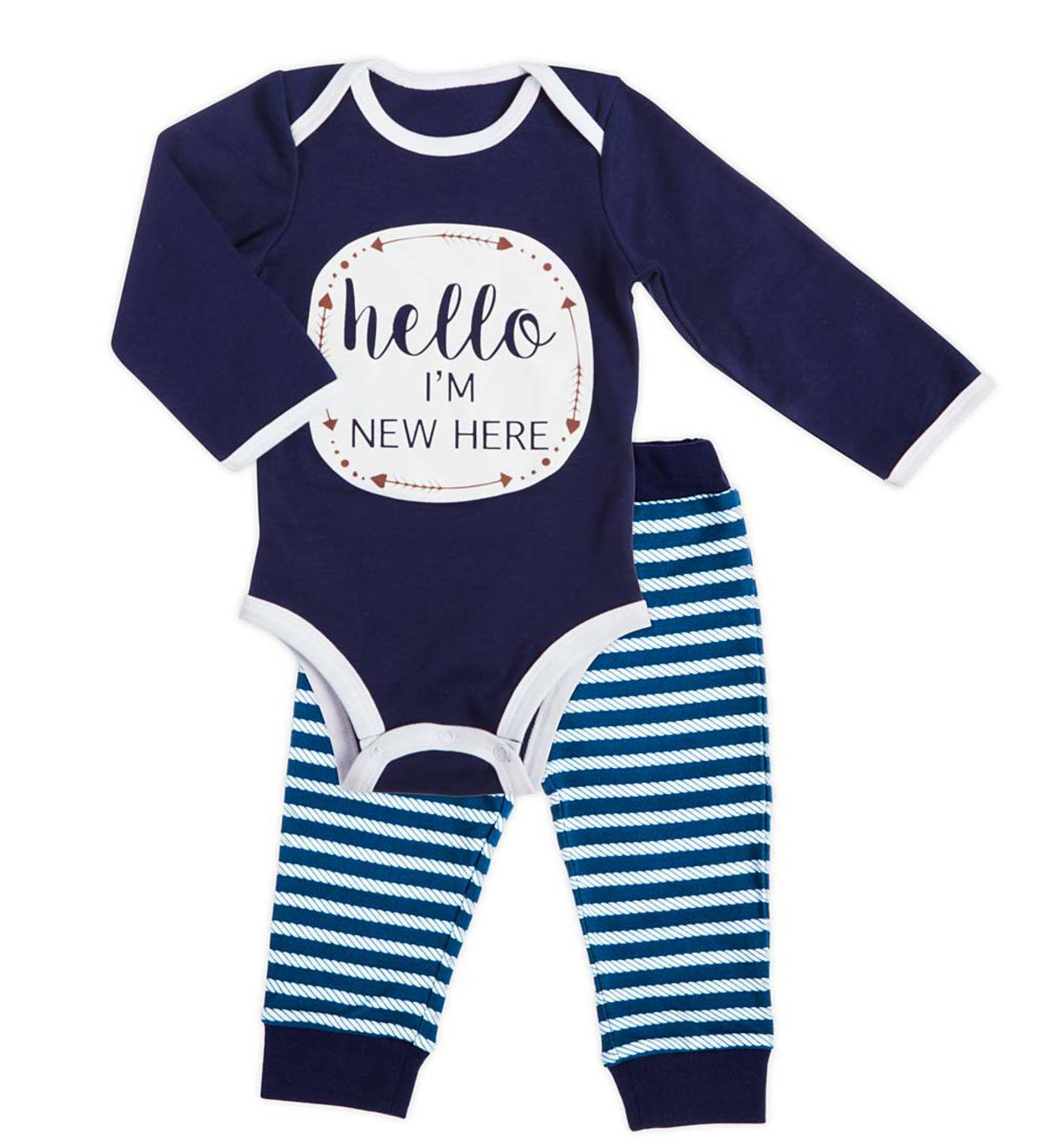 Hello, I'm New Here Apparel Set - Navy - 9/12M