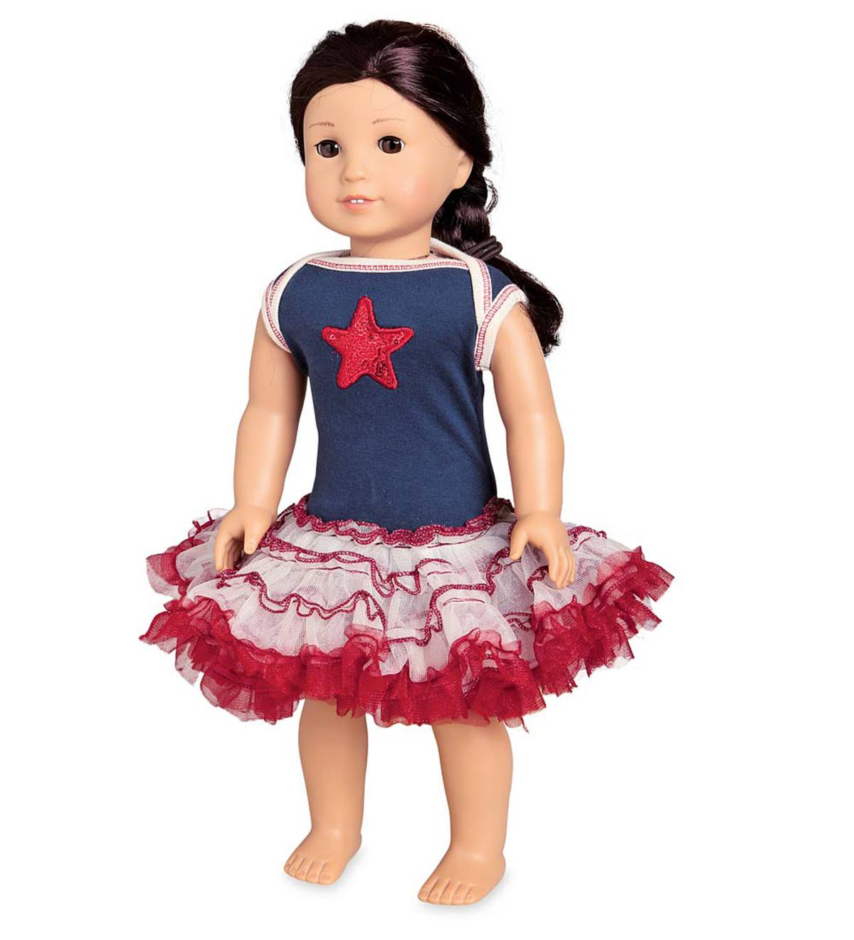 Doll Tutu Dress with Sequin Star - MLT - 01