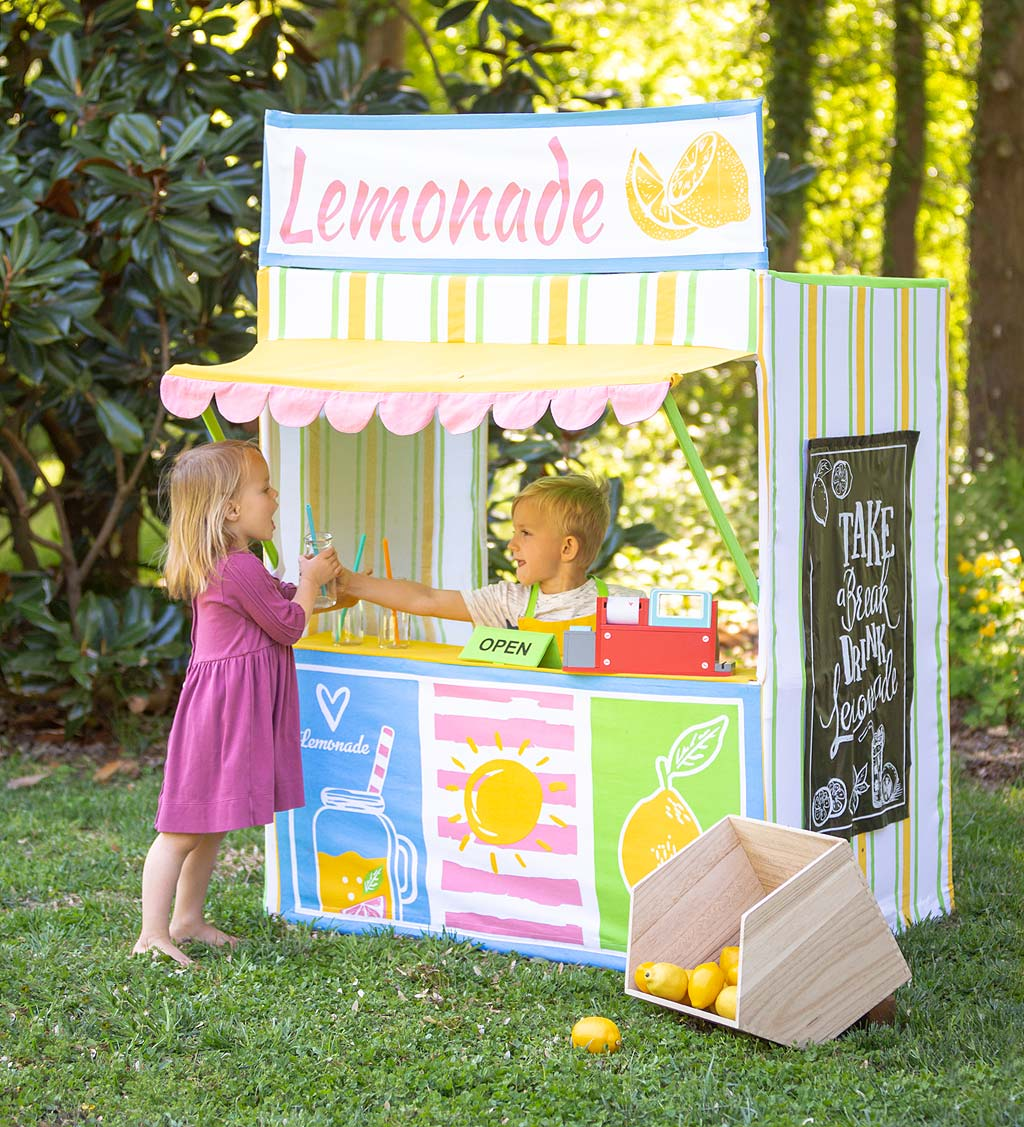 Lemonade Stand Play Space with Chalkboard Fabric, Apron, and Open/Close Sign