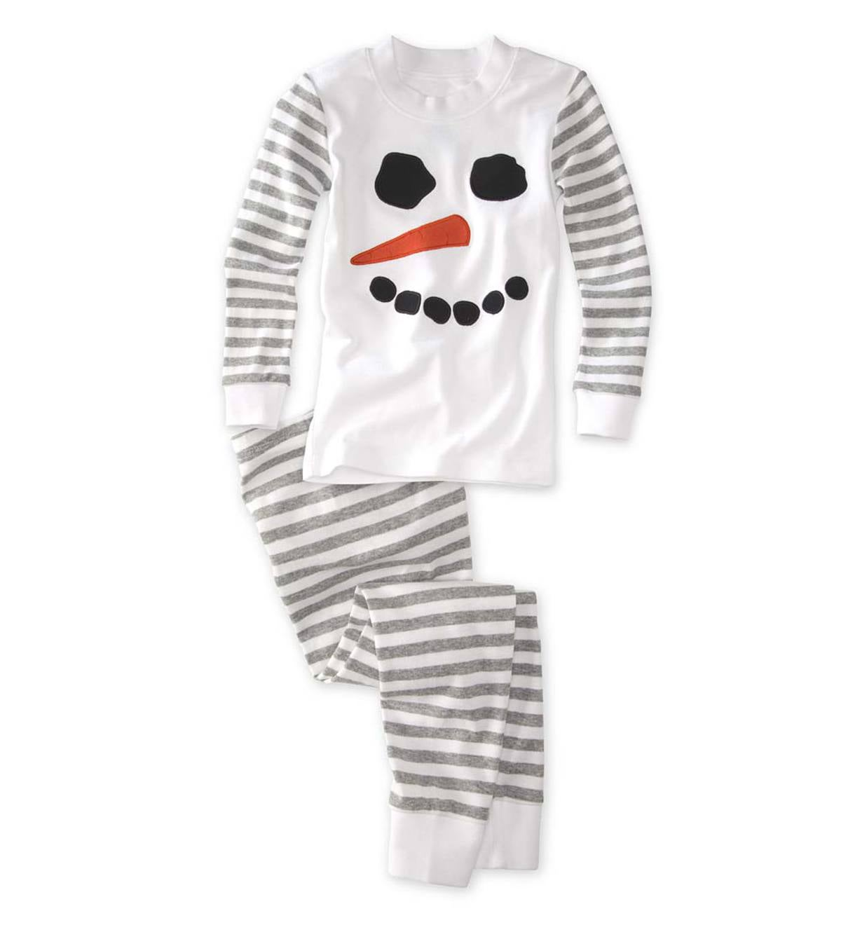 Snowman Stripe Pajamas - Gray - 4