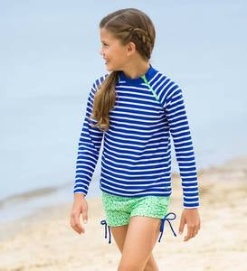 Two-Piece Blue Stripe Rash Guard Set