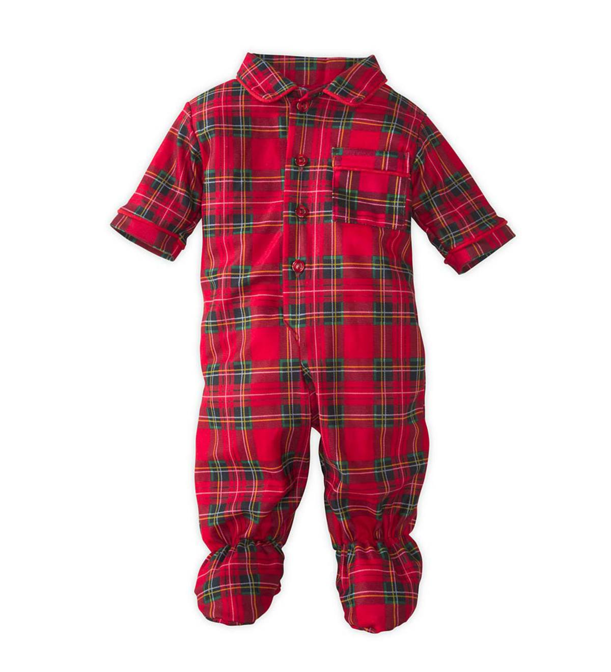 Plaid Footed Pajamas - Red - NB