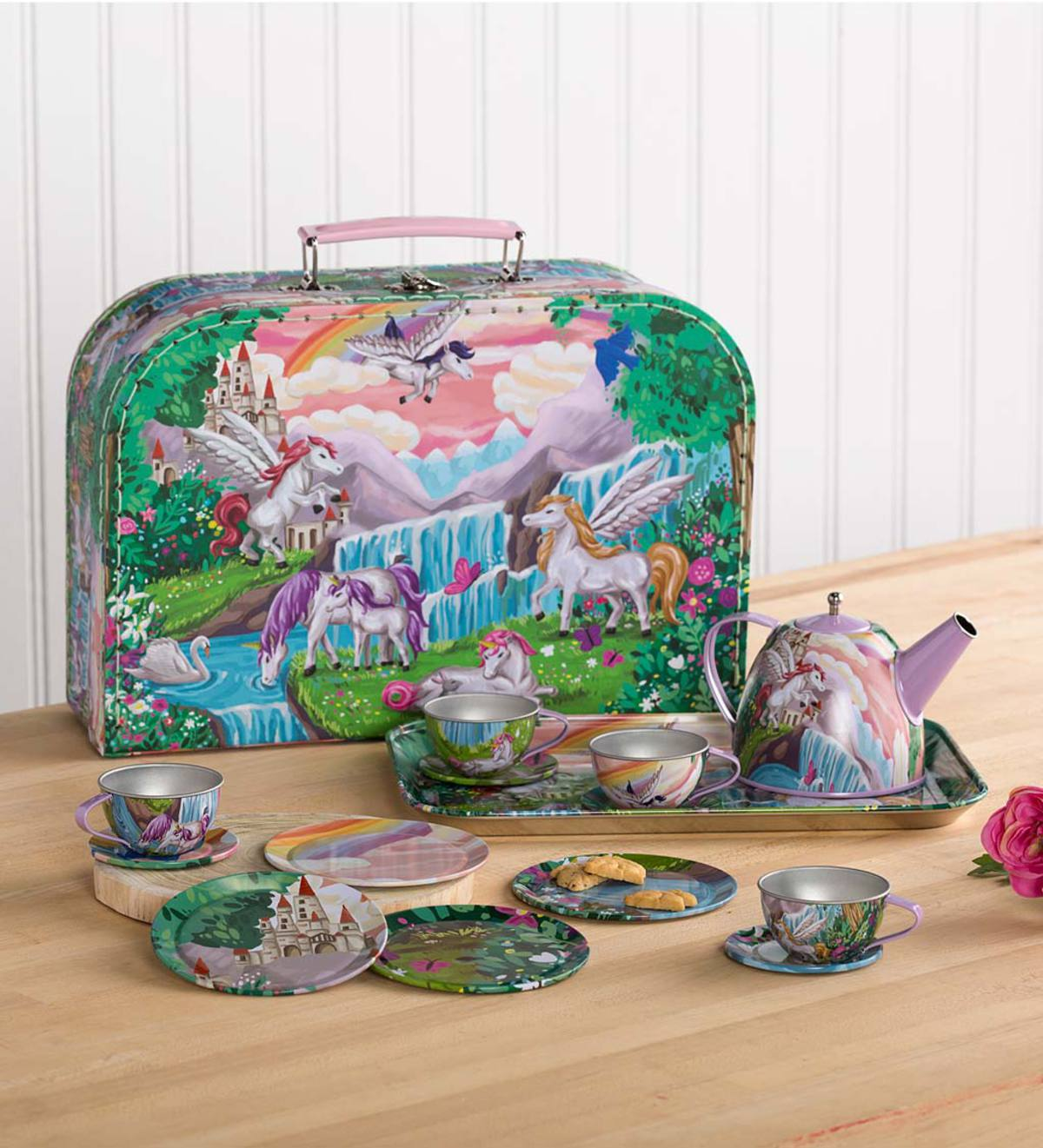15-Piece Fantasy-Themed Decorative Tin Tea Set