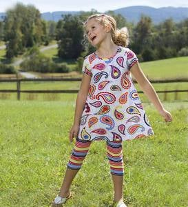 Short Sleeve Bow Back Trapeze Top - Multi - 4T