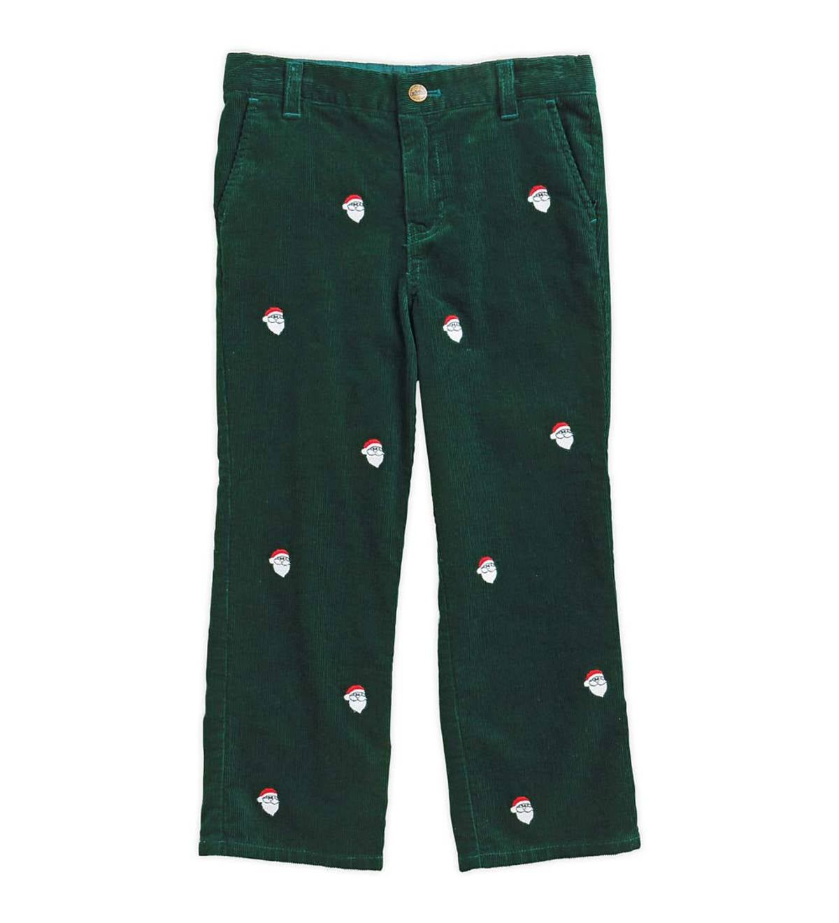 Santa Embroidered Pants - Green - 5