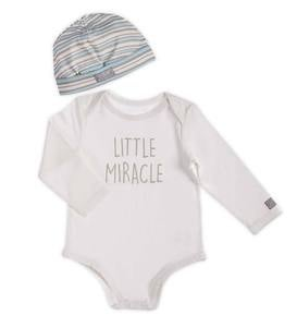 Little Miracle Long-Sleeve Graphic Bodysuit and Hat Set