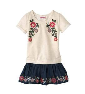Short-Sleeve Embroidered Flowers Dress and Leggings Set