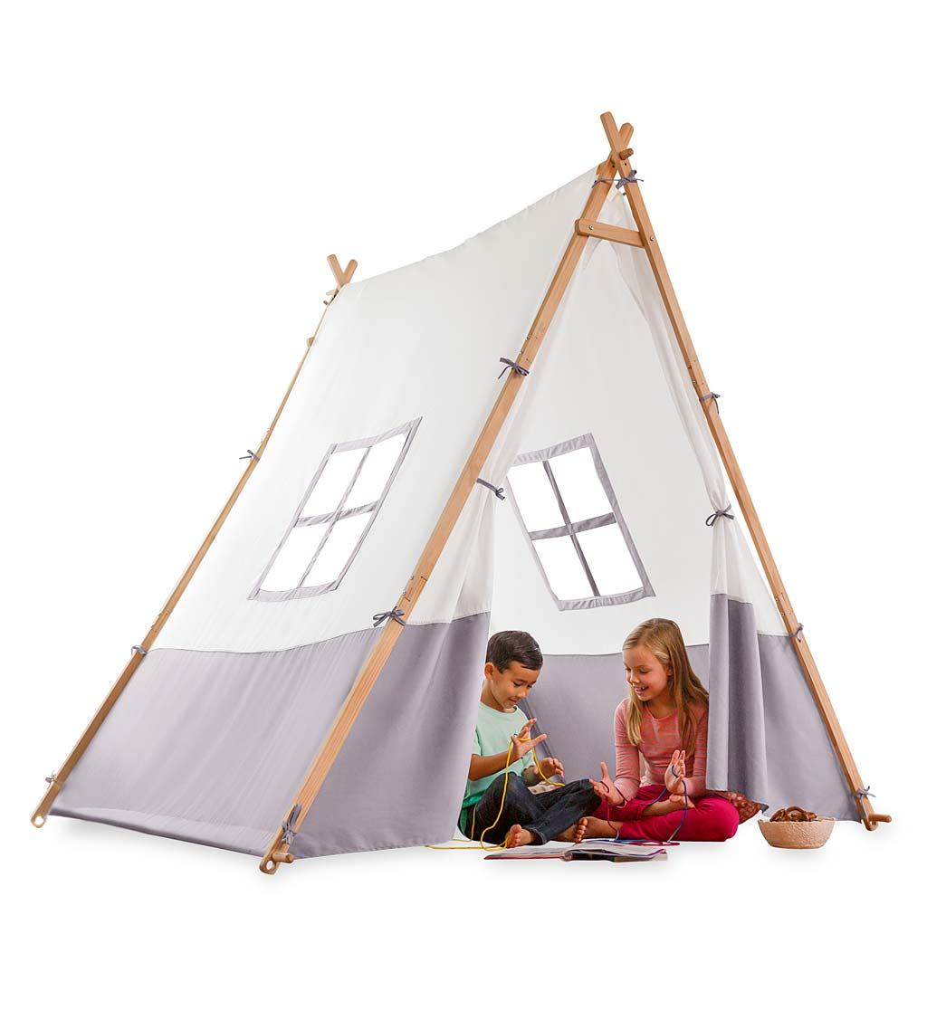 Wooden Canvas A-Frame Tent - Brown