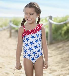 Stars and Dots One-Piece Swimsuit - MLT - 7